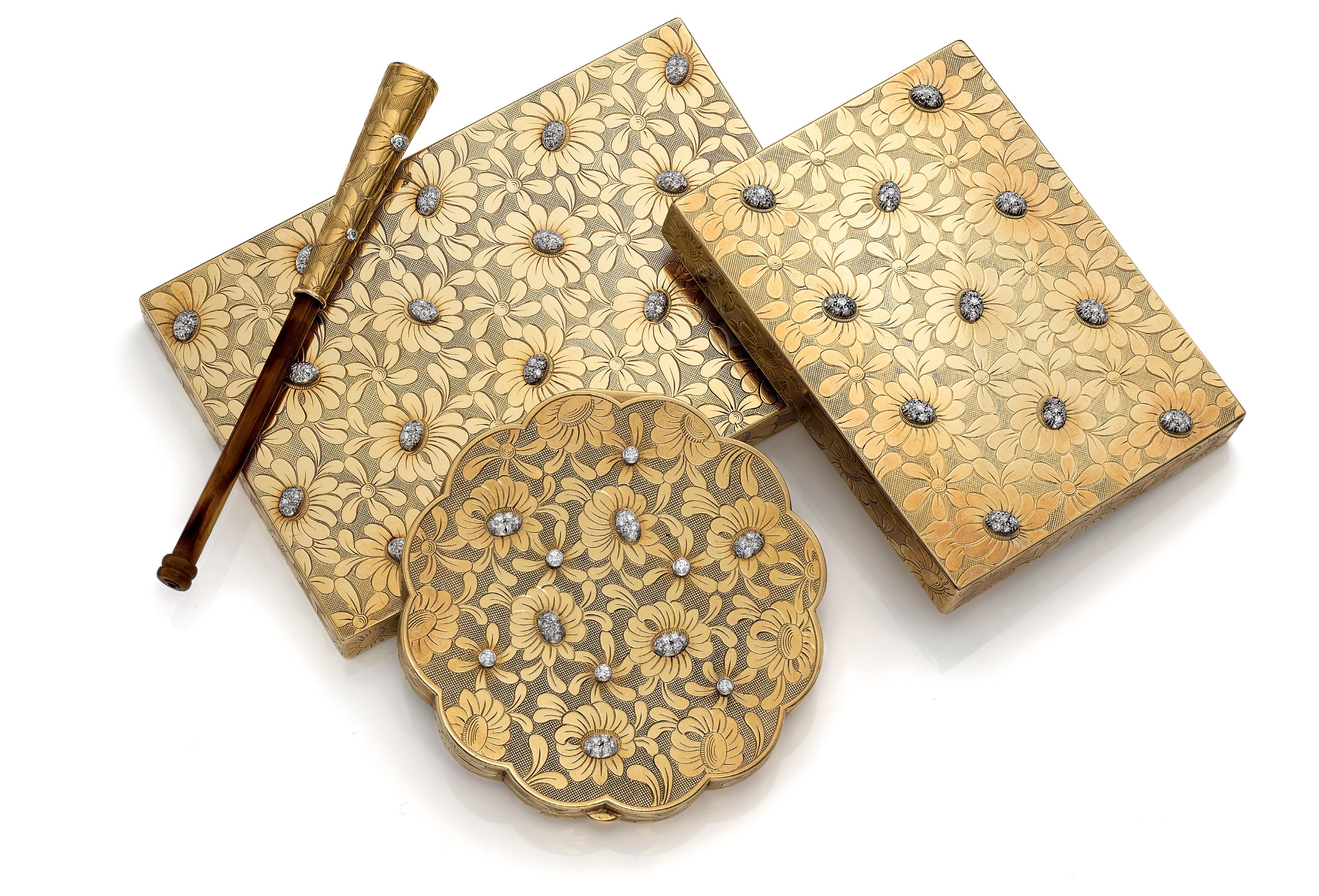 Nécessaire du soir en or et diamants, à motif de marguerites, Van Cleef & Arpels, vers 1950. Copyright : Christie's.